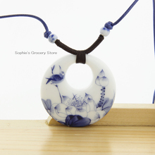 Ceramic Necklace Pendants Jingdezhen 2014 Fashion Vintage Blue And White Jewelry Accessories Wholesale Christmas Gifts 150040