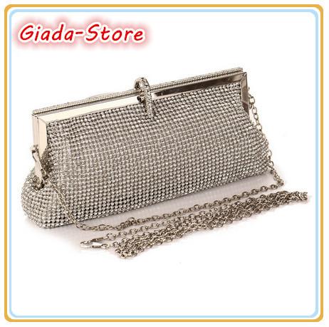 2014 Latest Women's Evening Bag Luxury Full Diamond Clutch Rhinestone Wedding Party Handbag Chain Shoulder Messenger Bag