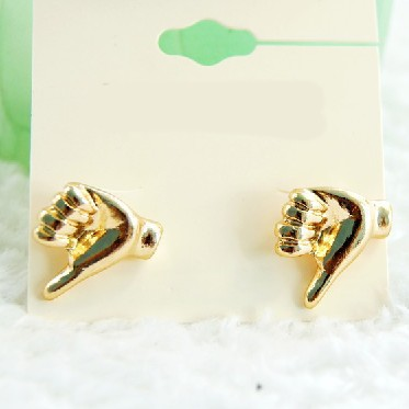 Metal gold fist searrings ,wholesale price jewelry ,high quality, 3.16212.Max Ring ,Free shipping(China (Mainland))