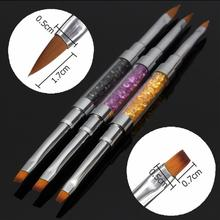 3 Style 2in1 Acrylic UV Gel Crystal Rhinestone Polish Flat Painting Brush Pen Nail Art Manicure Professional 2#4#6#(China (Mainland))