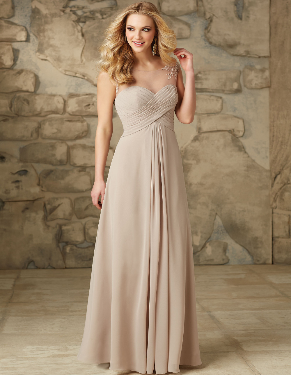 Long Chiffon Chocolate Bridesmaid Dresses 2015 Sexy