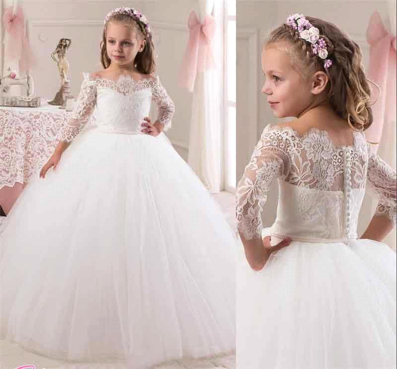 Vestidos Primera Comunion 2016 Three Quarter 3/4 Sleeve Lace Ball Gown Flower Girl Dress Communion Dresses(China (Mainland))