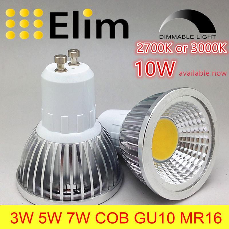 LED Bulb LED GU10 COB MR16 dimmable 2700K 3000K Warm White 3W 5W 7W 10W bulb light replace Halogen lamp energy saving lamp(China (Mainland))