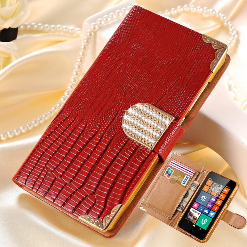 Luxury PU Leather Wallet Case for Nokia Lumia 635 630 Flip Cover Shining Crystal Bling Case with Card Slot(China (Mainland))