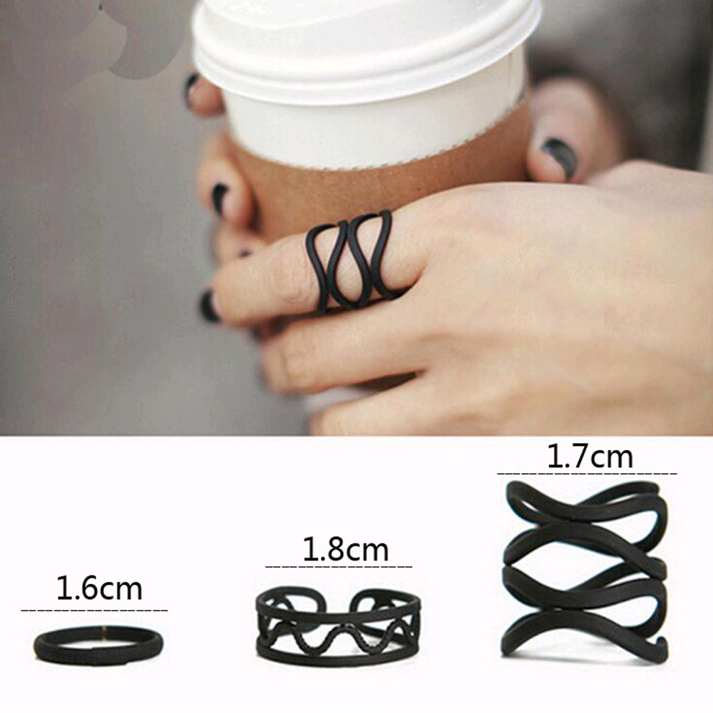 3 piece punk black women without a stack of dominoes ornament midi ring finger tip ring set(China (Mainland))
