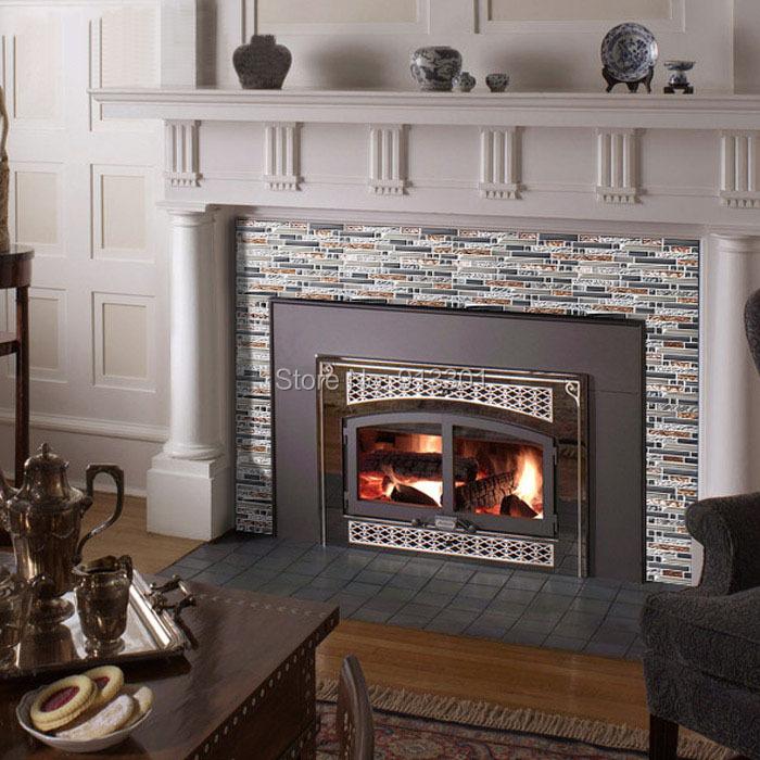 glass kitchen backsplash stickers fireplace glass mosaic subway tile