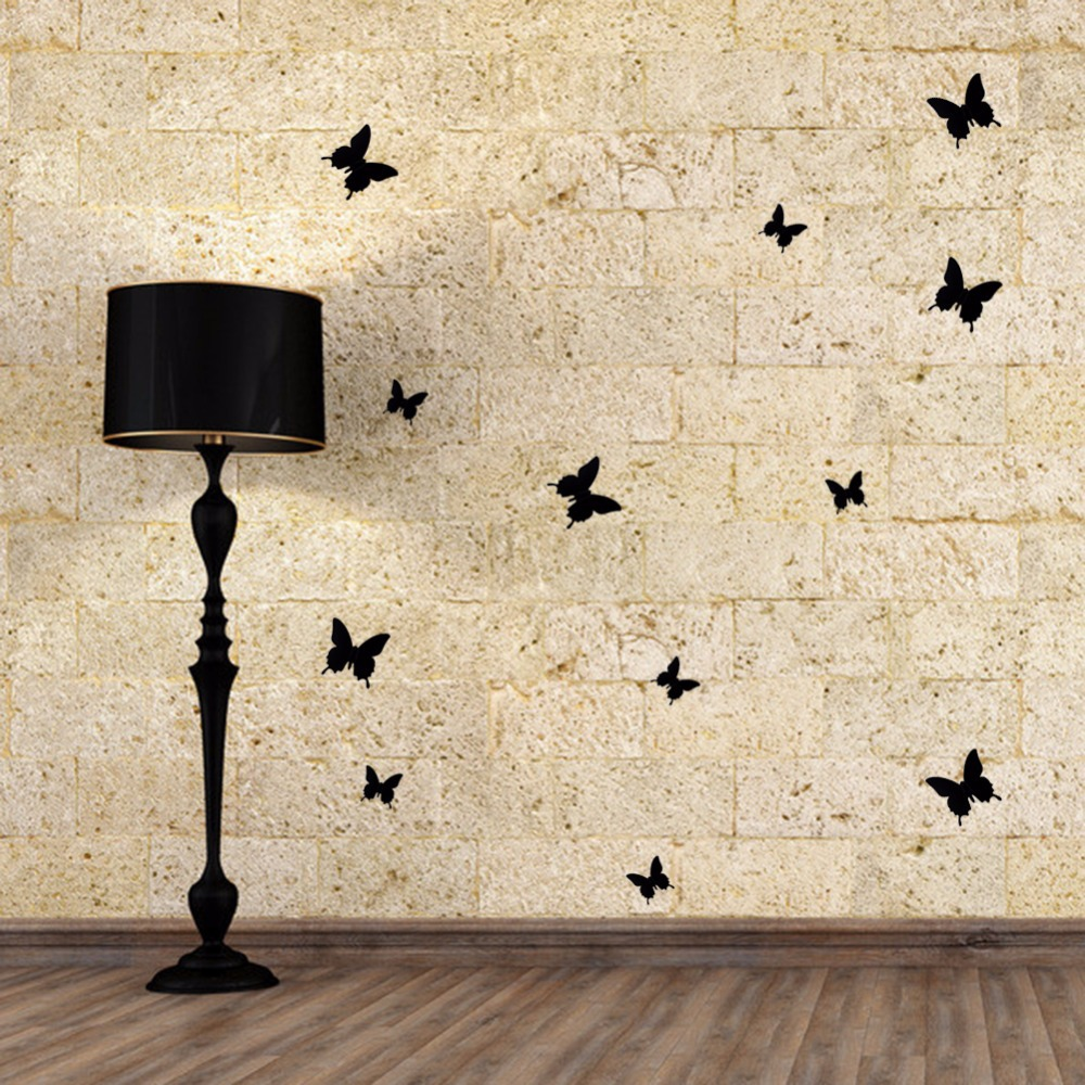 Wall Sticky Wonderful Black Red White Art Design Decal Wall Sticker Home Decoration Room Decorations 3D Butterfly Wall Decor(China (Mainland))