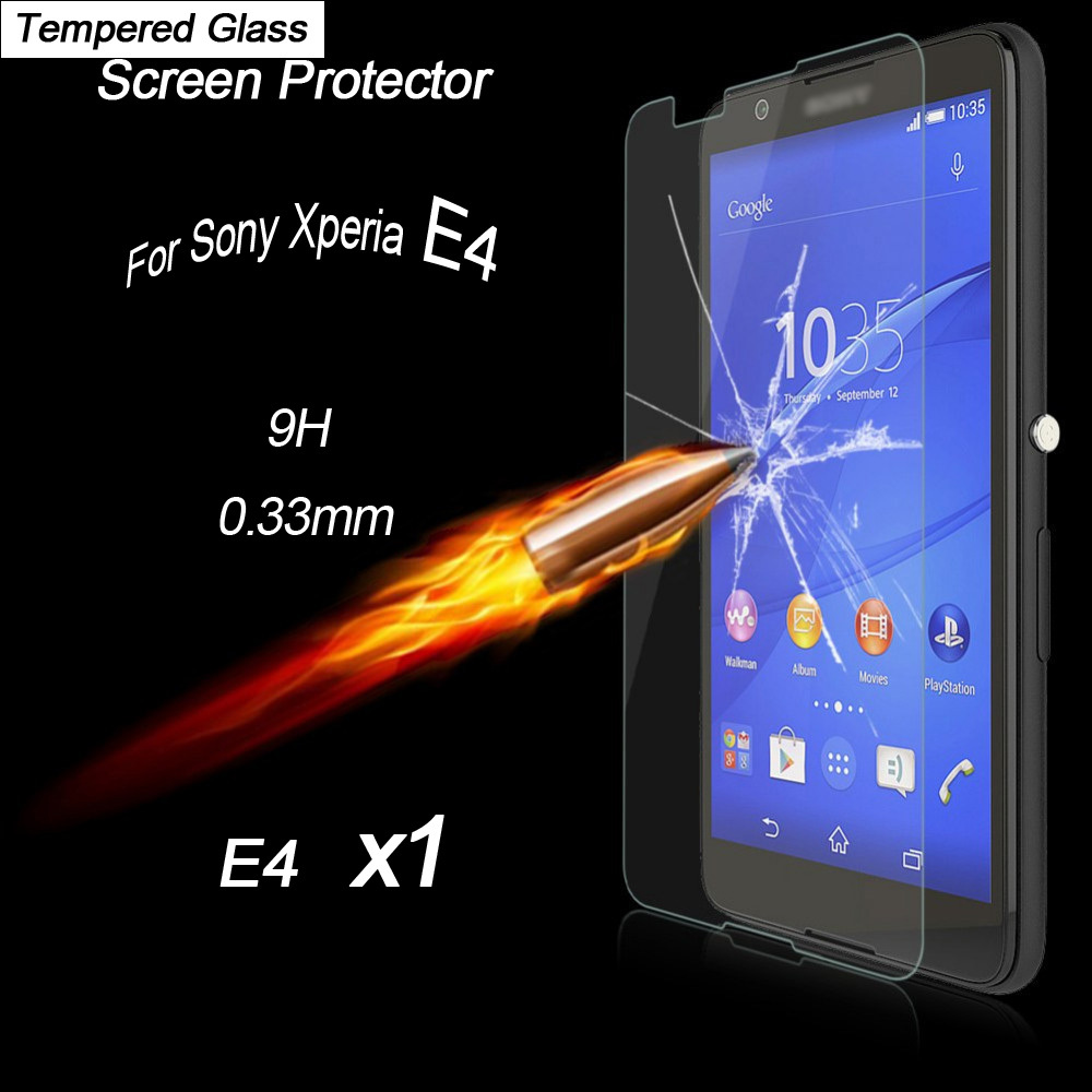 2015New Arrival 0.33mm Tempered Glass Screen Protector For Sony Xperia E4 5inch High Quality Screen Film(China (Mainland))