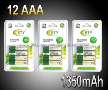 12PCS/LOT BTY AAA Ni-MH Rechargeable Battery Pack 1350Mah Up To 1100 Cycle