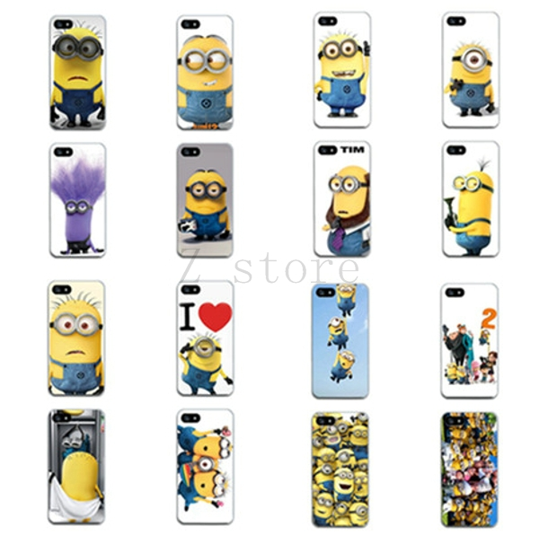 New lovely Beauty plastic Skin Despicable Me Yellow Minion Pattern Case back cover For Apple iphone 5 5S cell Phone case(China (Mainland))