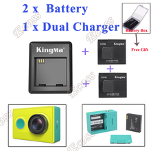 KingMa Xiaomi yi battery 2PCS 1010mAh xiaoyi battery + xiao yi battery charger For Sport Camera Xiaoyi Mi accessories