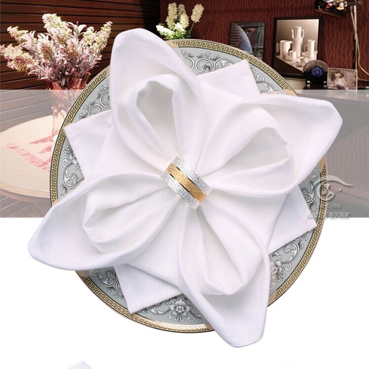 wedding napkins cloth 100% pure cotton white Cloth Napkins Gold for Banquet Wedding Party Dinner decoration(China (Mainland))