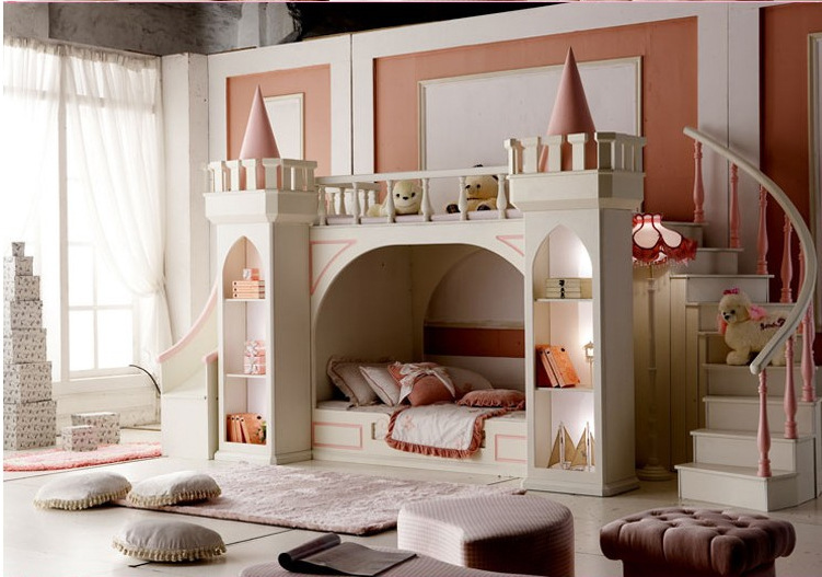 Image princess castle bed wood bed height pip bed bunk - Belle chambre de fille ...