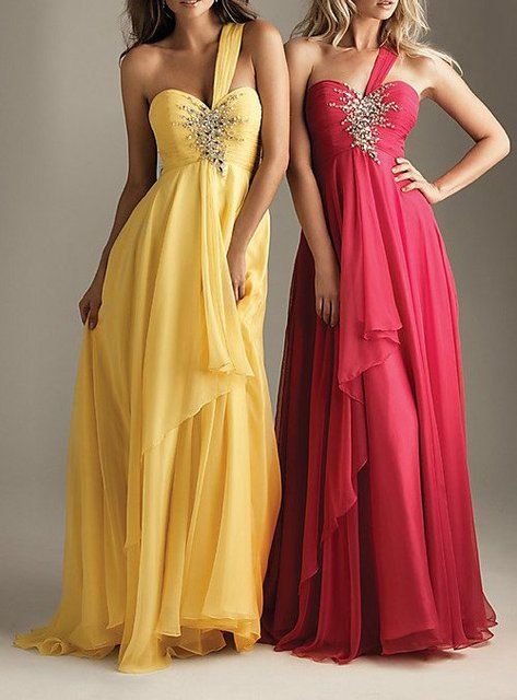 pleat and beading handwork One Shoulder Evening Dresses OL101861