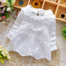 2016 Spring Long Sleeve Lace Bow Baby Party Birthday girls kids Children Cotton dresses, princess infant  Dress Vestido S2725(China (Mainland))