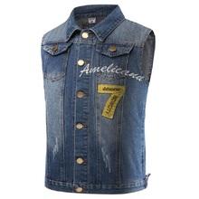 Vintage Design Men's Denim Vest Male Slim Fit Embroidery Sleeveless Jackets Men 7 Number Jeans Waistcoat Plus Size M-5XL LA033