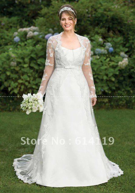 Amazing plus size long sleeve wedding dress a line high for Long sleeve plus size wedding dress