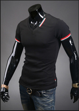 2015 New Arrival Men T Shirts Tops Tees Fashion Short Sleeve V neck T shirt Men