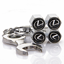 4Pcs/Set Lexus Logo Car Wheel Tire Valve Caps with Mini Wrench & Keychain For IS250 ES250 ES300 GS250 RX270 RX350 GX400 LX570(China (Mainland))