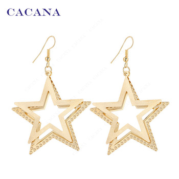 2016 new CACANA gold plated dangle long earrings for women Double Five-pointed star bijouterie hot sale No.A241 A242