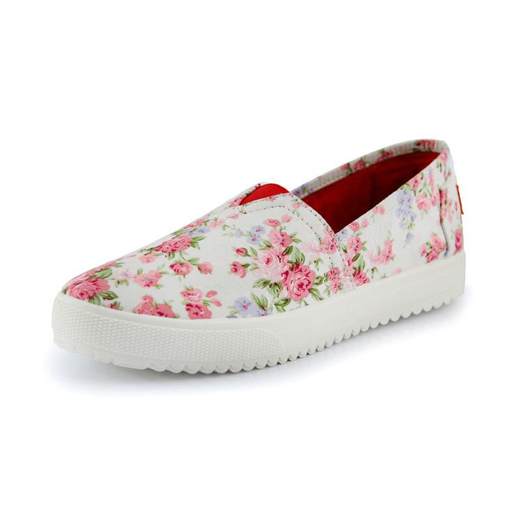 Nuevos 2016 de moda estampado Floral mujer zapatos de lona alpargatas mujeres mocasines madre plana Slip