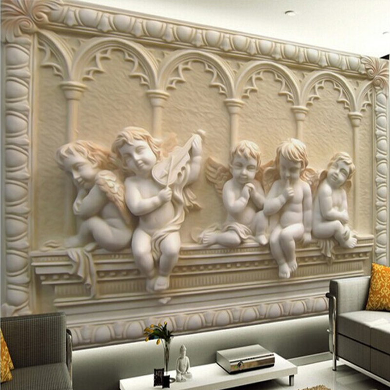 Angel wood carving reviews online shopping angel wood for Custom size wall mural