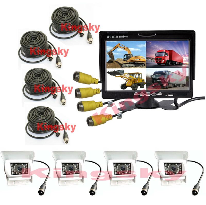 "4x 4Pin 18 LED Car Rear View Parking Reversing Camera White + 7"" LCD 4CH Quad Split Monitor For Truck Caravan Vans(China (Mainland))"