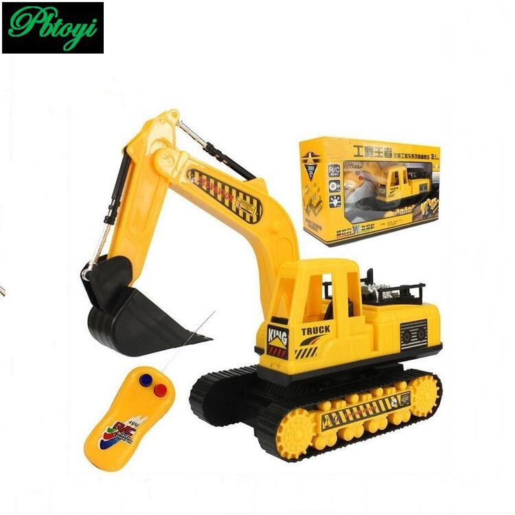 Two way remote control toys excavator can rotate forward and back left music flashing truck RC toys PC0308(China (Mainland))