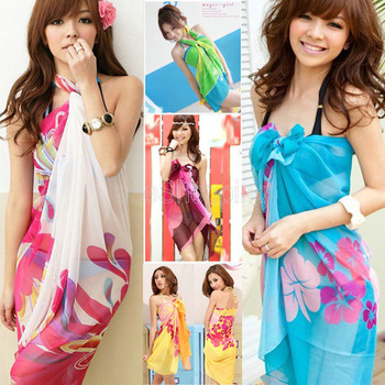 New Women Summer Dress Ladies Chiffon Wrap Sarong Beach Swimwear Swimsuit Beach Bathing Suit Cover Up Bikini Scarf Pareo W00293(China (Mainland))