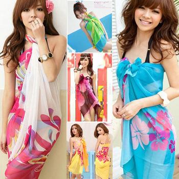 New Women Summer Dress Ladies Chiffon Wrap Sarong Beach Swimwear Swimsuit Beach Bathing Suit Cover Up Bikini Scarf Pareo W00293(China (Mainland))