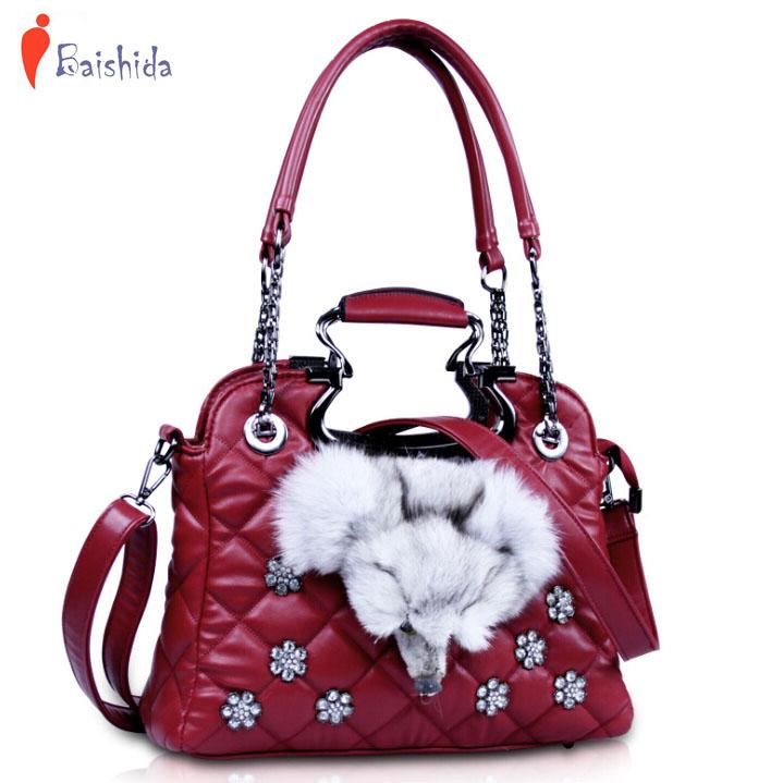 100% Genuine leather bag women messenger bags designer handbags high quality rhombic solid color fox fur shoulder bags V6G158<br><br>Aliexpress