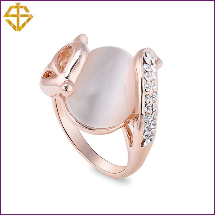 SI Fashion Jewelry Fox Opal Ring with Austrian Crystal Gold Plated for women For wholesale(China (Mainland))
