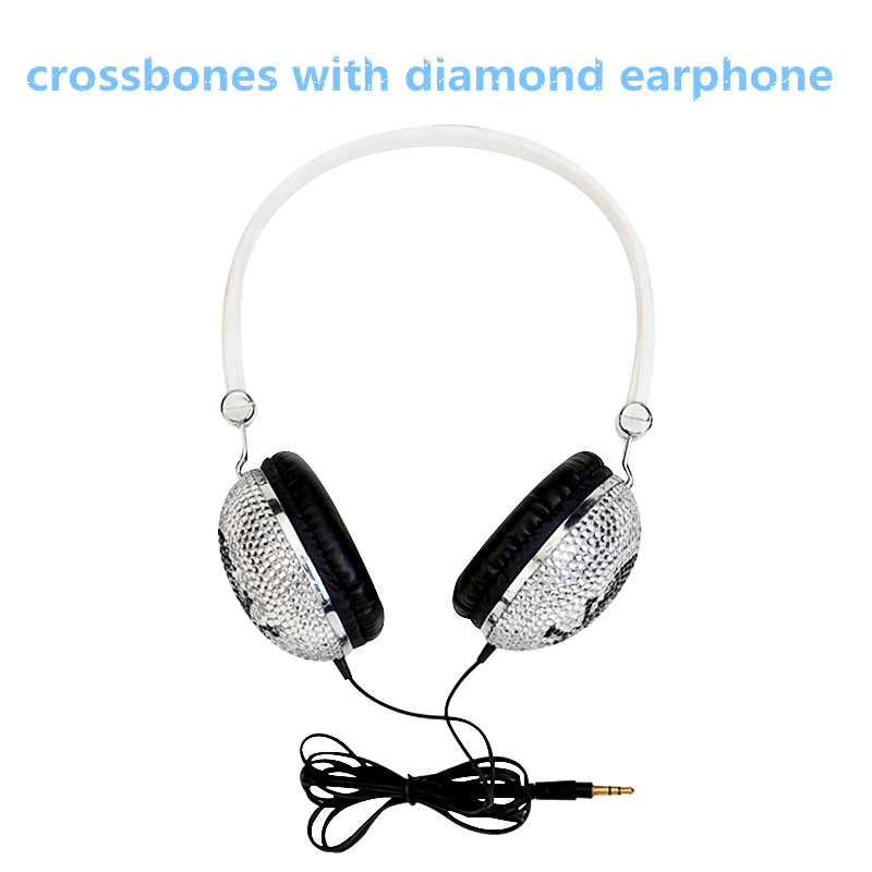 Unique Design headband skull wired headphone crossbones earphone with diamond skeleton sport headset(China (Mainland))