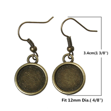 8SEASONS Earring Hooks Round Antique Bronze Cabochon Setting(Fits 12mm Dia) 3.4cm x 1.4cm,25 Pairs (B36071)(China (Mainland))