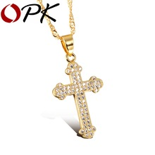 OPK AAA+ Cubic Zirconia Cross Woman Necklaces Vintage 18K Gold Plated Women Religious Jewelry Pendant Free Link Chain KX630