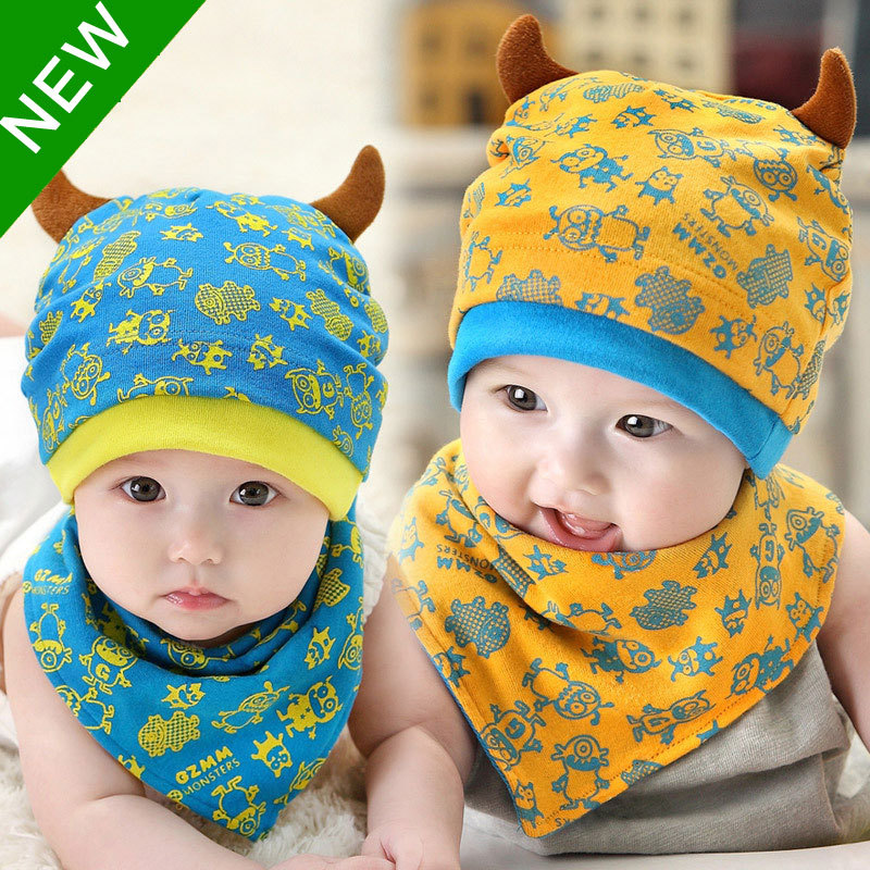 2015 Baby Monsters Design Beanie Cap And Cloth Bandana Bib Head Scarf A Set Boy Girl Kids Toddler Clothing Accessories Knit Caps(China (Mainland))