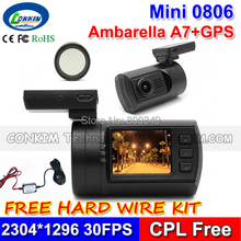 Order Now! Get Hard Wire Kit Free Mini 0806 Car DVR Dash Cam Ambarella A7LA50 Super 1296P HD With GPS Parking Sensor CPL Free(China (Mainland))