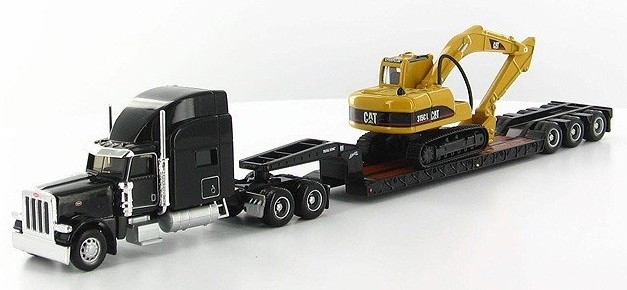 Flatbed truck Ho 1:87 Peterbilt Model 389 With Trail King Lowboy Trailer And Cat 315CL excavator 55415(China (Mainland))