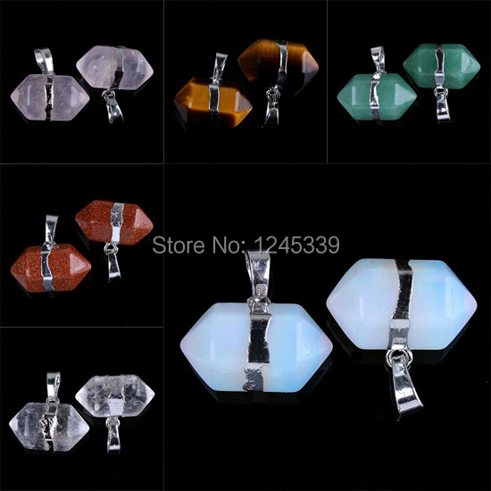 Beautiful Natural Stone Hexagon Prism Double Point Chakra Reiki Pendulum Pendant Charms Health Amulet Fashion Jewelry 1 pcs(China (Mainland))