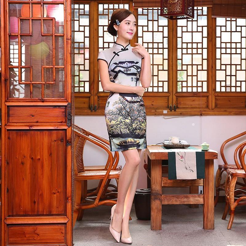 มาใหม่แฟชั่นแผนจีนชุดผู้หญิงผ้าไหมCheongsam QipaoมินิVestidoเดเฟสต้าขนาดSml XL XXL Z20160309 ถูก