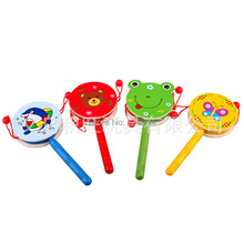 Baby Toys Musical Wooden Rattle Pellet Drum Cartoon Hand Bell Cute Infant Gifts Free Shipping(China (Mainland))