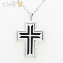30mm*38mm stainless steel cross essential oil diffuser necklace pendant perfume locket(free felt pads, locket only) - URS Jewelry store