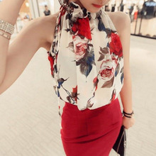 2016 New Fashion Summer Clothing Floral Chiffon Halter Sexy Strapless Women Tops Loose Sleeveless Shirt Wild Casual Womens HE008(China (Mainland))