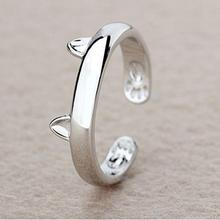 Silver Plated Cat Ear Ring Design Cute Fashion Jewelry Cat Ring For Women Young Girl Child Gifts Adjustable Anel Wholesale(China (Mainland))