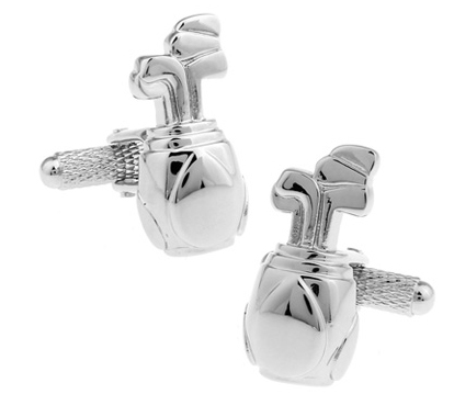 New Design! Factory Price Retail Men's Cufflinks Brass Material Silvery white Color Golf Bag Design Cuff Links Free Shipping(China (Mainland))