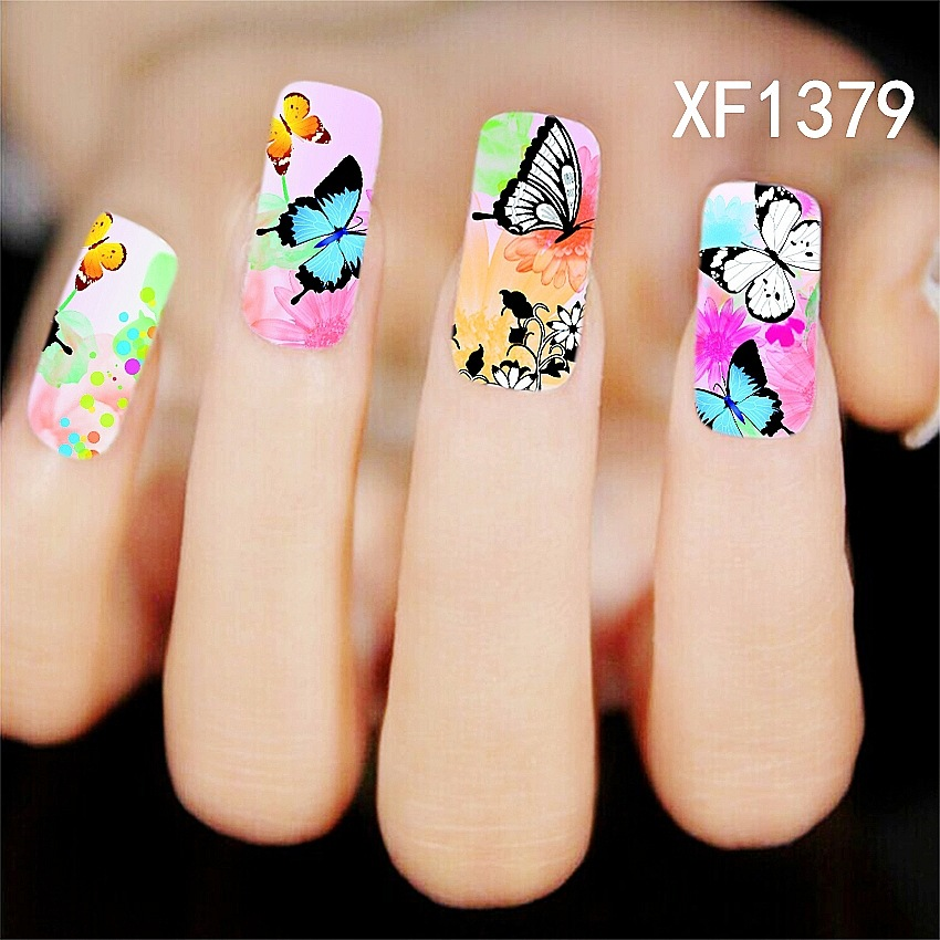 New Full Nail Wrap Water Transfer Nail Art Stickers Decal Colorful Butterfly Flowers Fairy Design Manicure Tool Nail Stickers(China (Mainland))