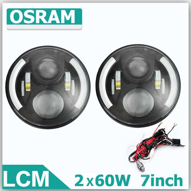 60W 7Inch H4 H13 LED Round Light OffRoad Work Lights Driving Lamp Combo Beam 12v 24v Truck SUV Boat 4X4 4WD LED Headlight. [LCM]