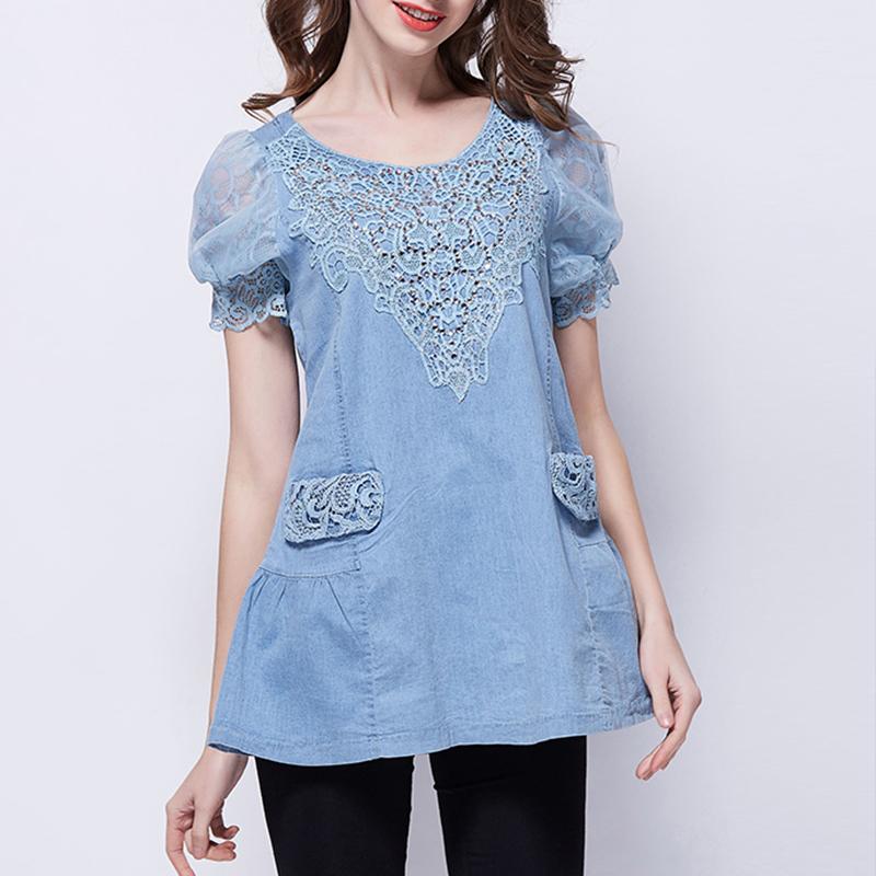 Hot 2016 Fashion Lace Diamond Pocket Casual Shirt Short Puff Sleeve Denim Solid Loose Plus Size Woman Female Jeans Blouse 218(China (Mainland))