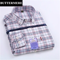 BUTTERMERE Brand Clothing Plaid Shirts Men Fashion Design Long Sleeve Slim Fit Casual Shirts Oxford Fabric