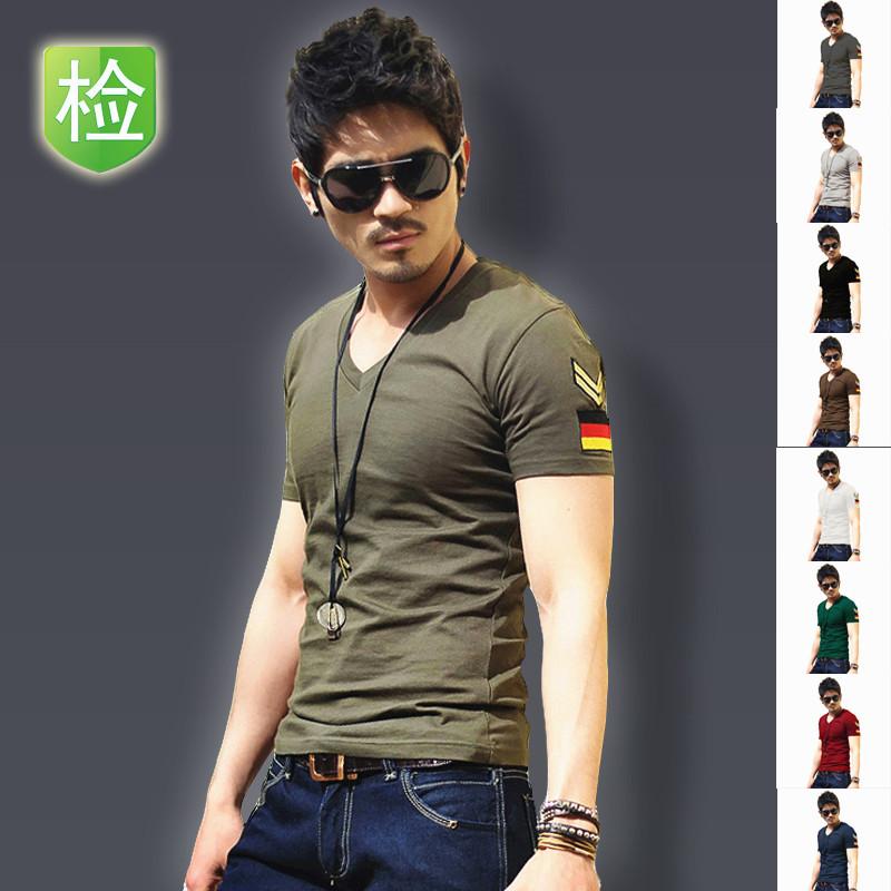 Summer short-sleeve V-neck T-shirt male plus size plus size half sleeve clothes summer men's clothing military(China (Mainland))